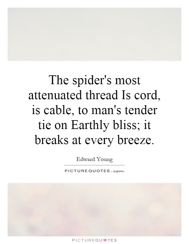 The spider's most attenuated thread Is cord, is cable, to man's tender tie on Earthly bliss; it breaks at every breeze Picture Quote #1
