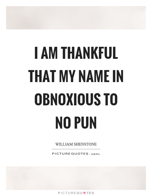 I am thankful that my name in obnoxious to no pun Picture Quote #1