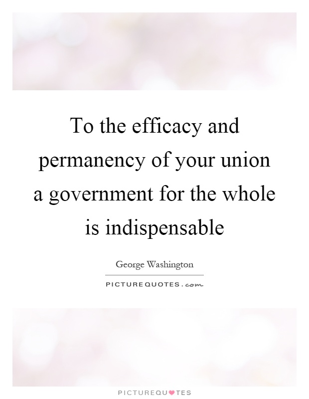 To the efficacy and permanency of your union a government for the whole is indispensable Picture Quote #1