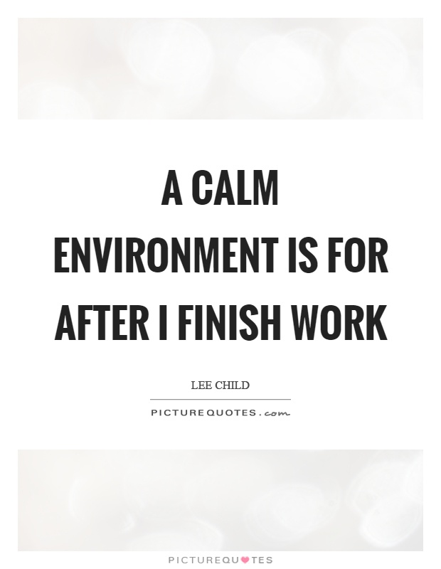 A calm environment is for after I finish work Picture Quote #1