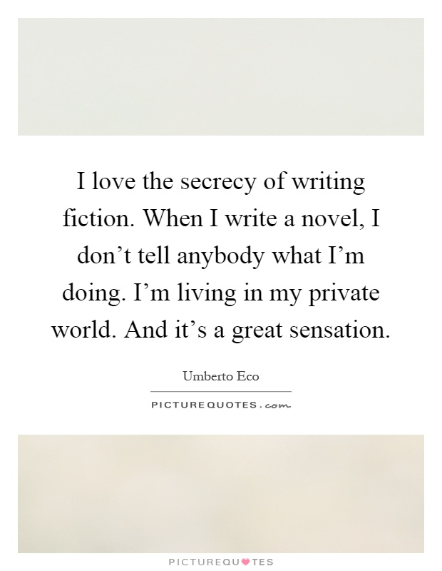 I would love to write a novel
