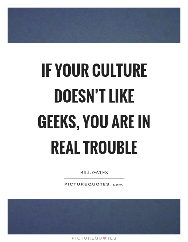 If your culture doesn't like geeks, you are in real trouble Picture Quote #1