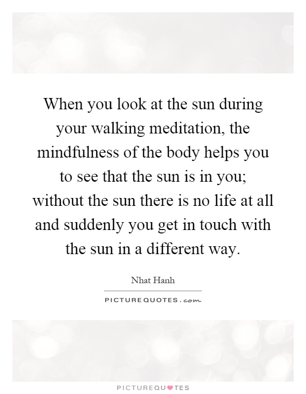 When you look at the sun during your walking meditation, the mindfulness of the body helps you to see that the sun is in you; without the sun there is no life at all and suddenly you get in touch with the sun in a different way Picture Quote #1