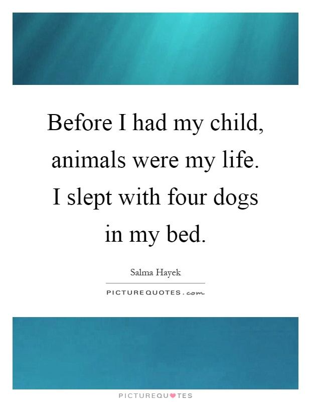 Before I had my child, animals were my life. I slept with four dogs in my bed Picture Quote #1