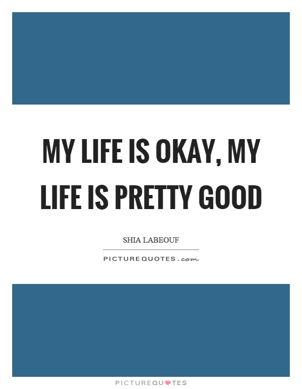 My life is okay, my life is pretty good Picture Quote #1