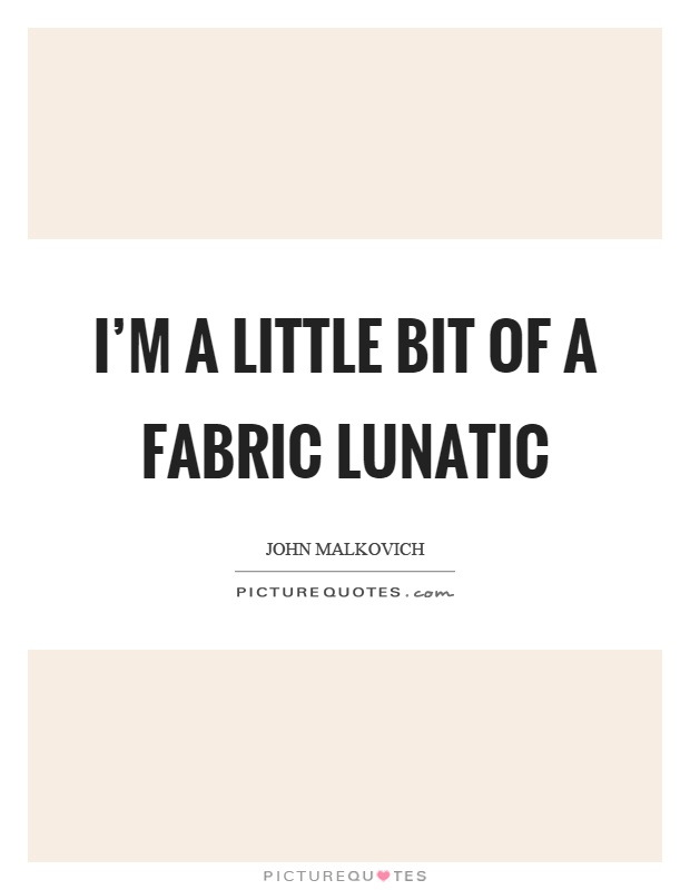 I'm a little bit of a fabric lunatic Picture Quote #1
