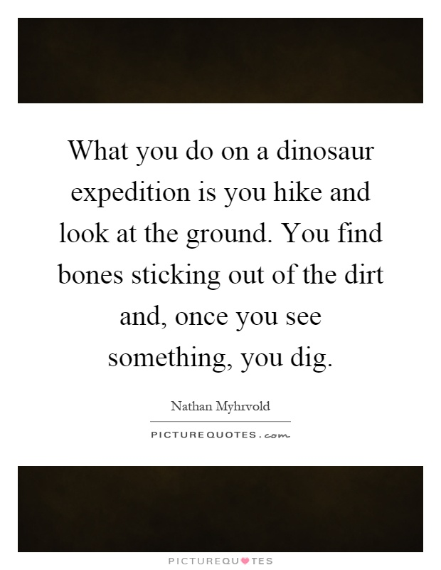 What you do on a dinosaur expedition is you hike and look at the ground. You find bones sticking out of the dirt and, once you see something, you dig Picture Quote #1