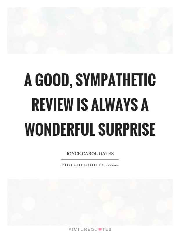 A good, sympathetic review is always a wonderful surprise Picture Quote #1