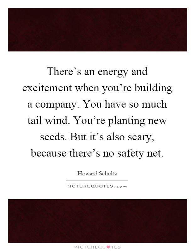 There's an energy and excitement when you're building a company. You have so much tail wind. You're planting new seeds. But it's also scary, because there's no safety net Picture Quote #1