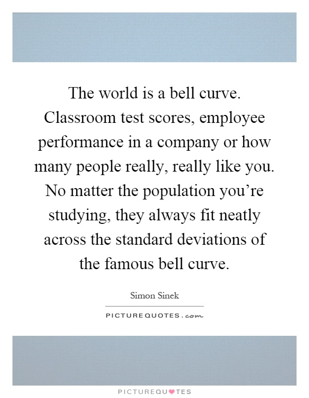 The world is a bell curve. Classroom test scores, employee performance in a company or how many people really, really like you. No matter the population you're studying, they always fit neatly across the standard deviations of the famous bell curve Picture Quote #1