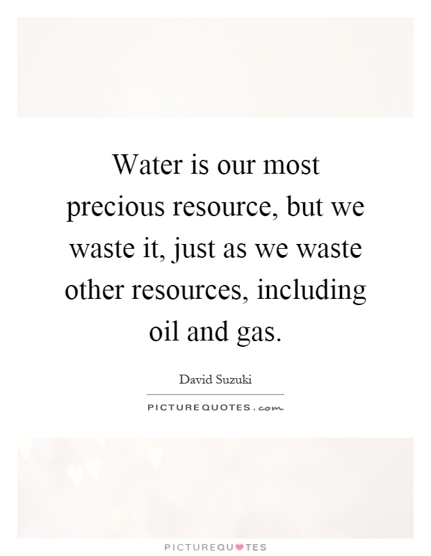Water is our most precious resource, but we waste it, just as we waste other resources, including oil and gas Picture Quote #1