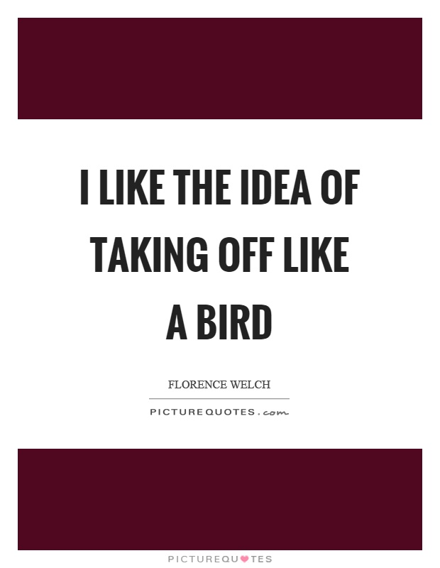 I like the idea of taking off like a bird Picture Quote #1