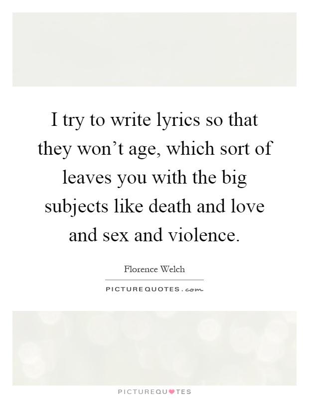 Sex and violence lyrics