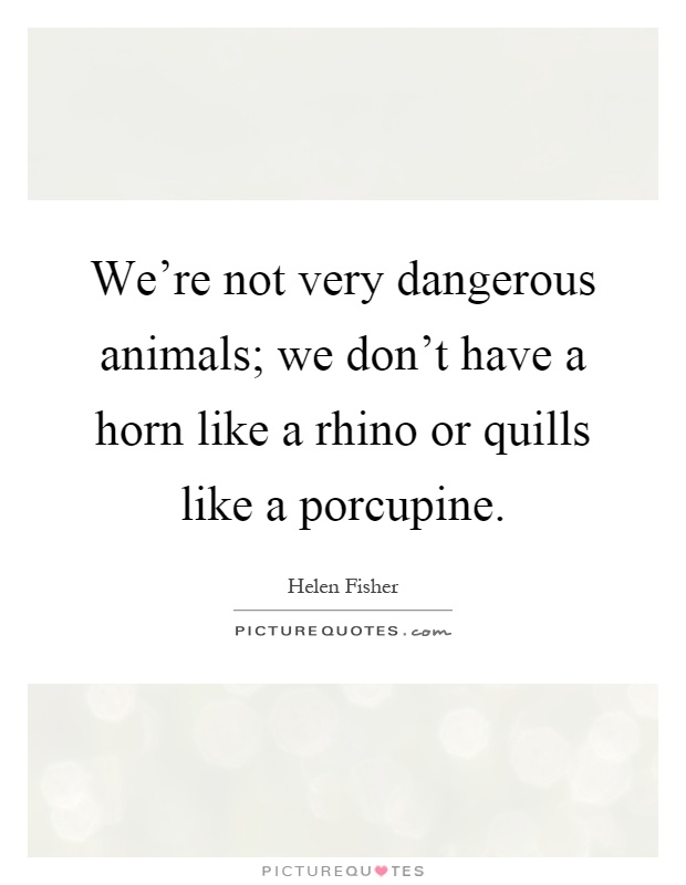 We're not very dangerous animals; we don't have a horn like a rhino or quills like a porcupine Picture Quote #1
