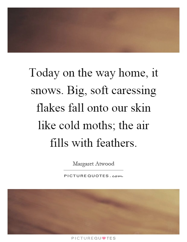 Today on the way home, it snows. Big, soft caressing flakes fall onto our skin like cold moths; the air fills with feathers Picture Quote #1
