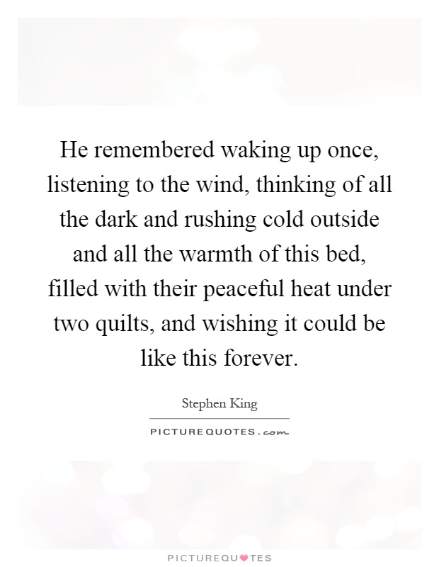 He remembered waking up once, listening to the wind, thinking of all the dark and rushing cold outside and all the warmth of this bed, filled with their peaceful heat under two quilts, and wishing it could be like this forever Picture Quote #1