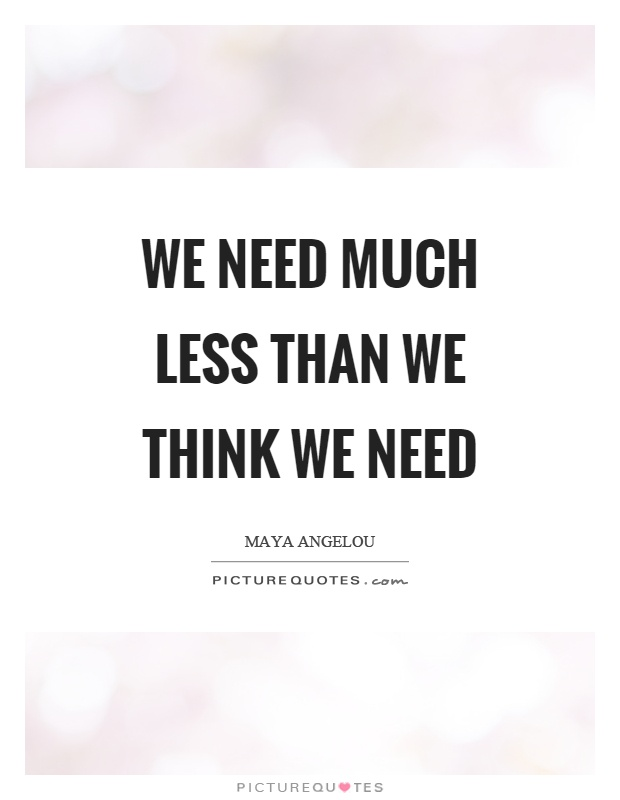 We need much less than we think we need Picture Quote #1