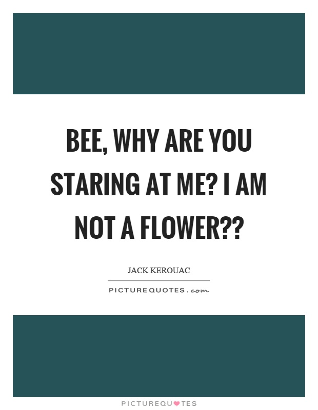 Bee, why are you staring at me? I am not a flower?? Picture Quote #1