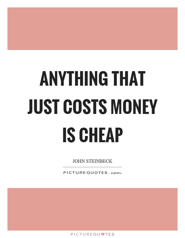 Anything that just costs money is cheap Picture Quote #1