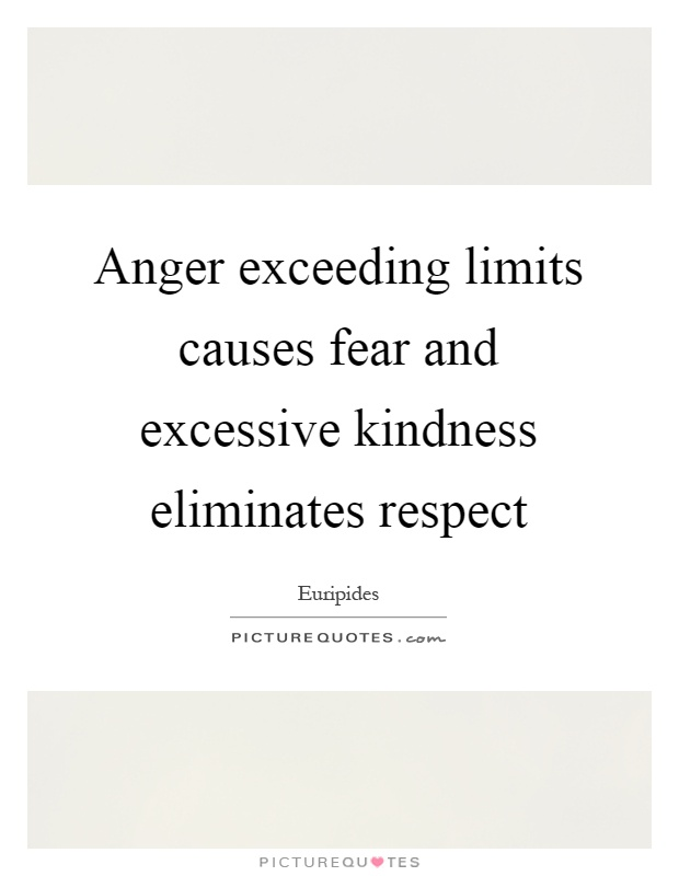 Anger exceeding limits causes fear and excessive kindness eliminates respect Picture Quote #1