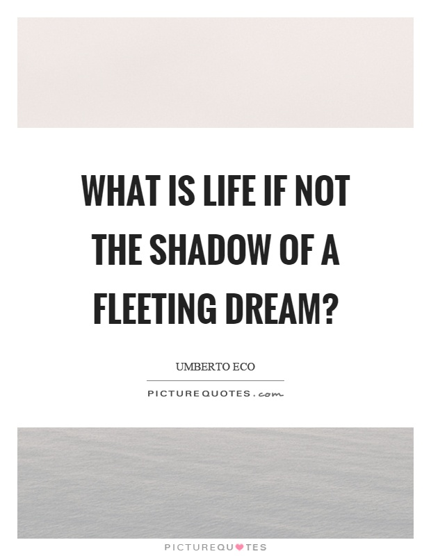 What is life if not the shadow of a fleeting dream? Picture Quote #1