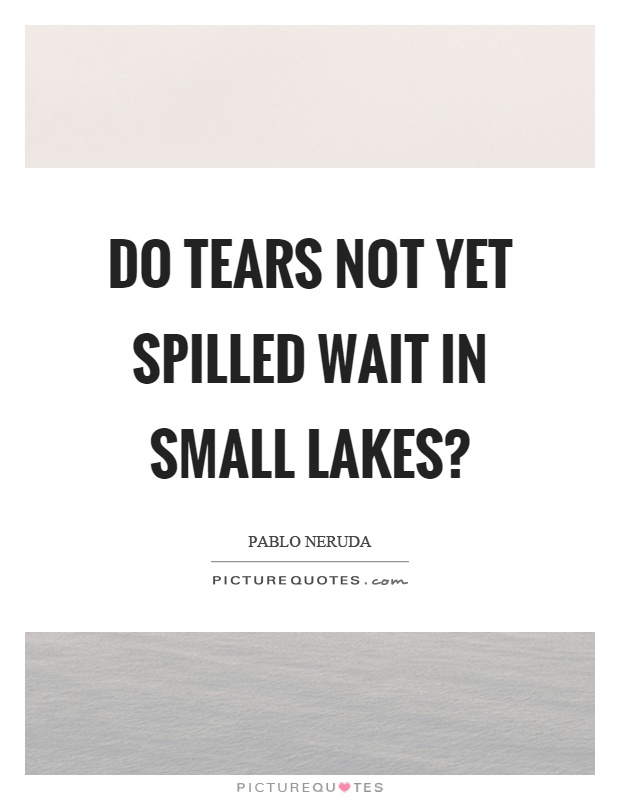 Do tears not yet spilled wait in small lakes? Picture Quote #1