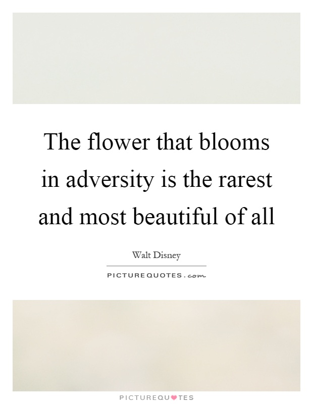 The flower that blooms in adversity is the rarest and most beautiful of all Picture Quote #1