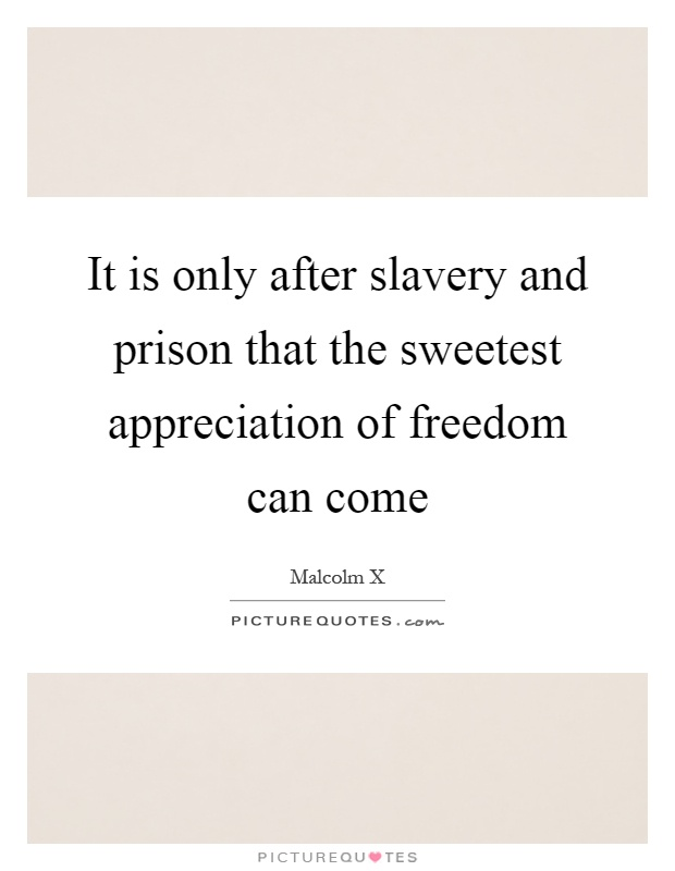 It is only after slavery and prison that the sweetest appreciation of freedom can come Picture Quote #1