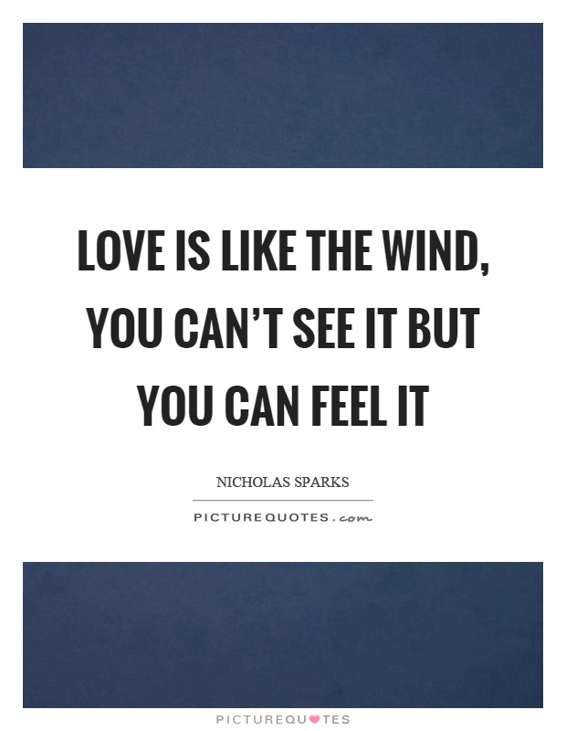 Love is like the wind, you can't see it but you can feel it Picture Quote #1