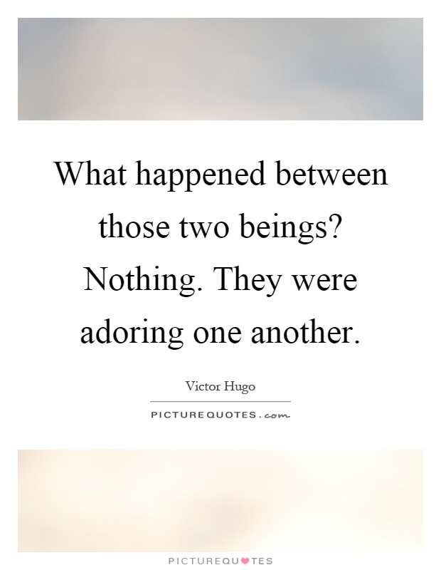 What happened between those two beings? Nothing. They were adoring one another Picture Quote #1