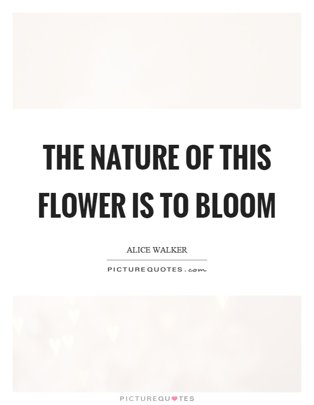 The nature of this flower is to bloom Picture Quote #1