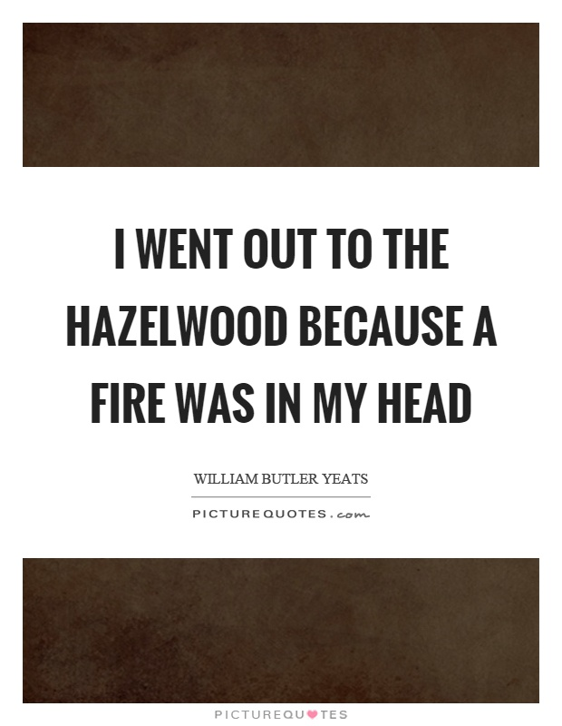 I went out to the hazelwood because a fire was in my head Picture Quote #1