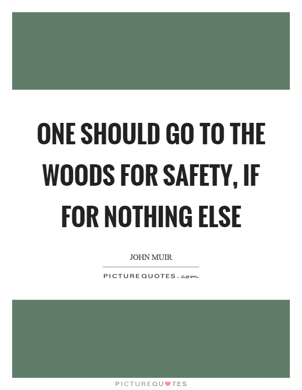 One should go to the woods for safety, if for nothing else Picture Quote #1