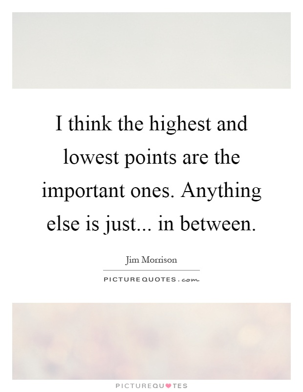 I think the highest and lowest points are the important ones. Anything else is just... in between Picture Quote #1