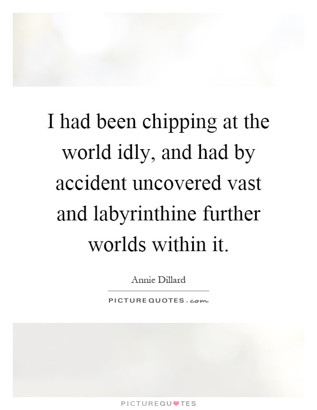I had been chipping at the world idly, and had by accident uncovered vast and labyrinthine further worlds within it Picture Quote #1