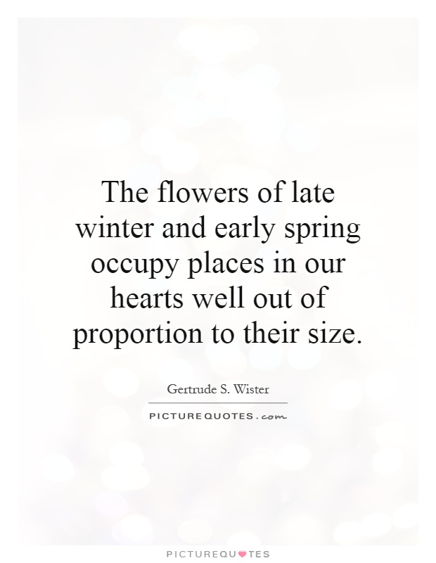 The Flowers Of Late Winter And Early Spring Occupy Places In Our
