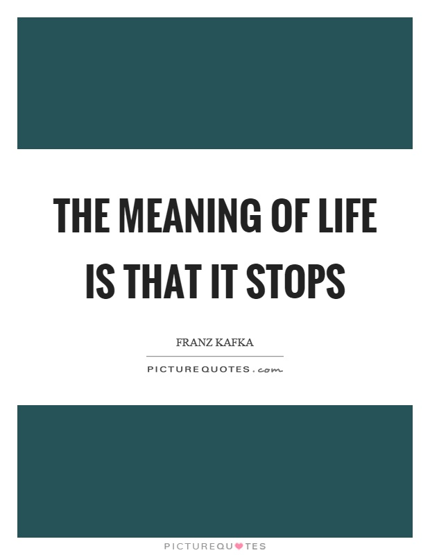 The meaning of life is that it stops Picture Quote #1