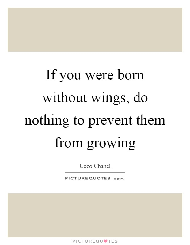 If you were born without wings, do nothing to prevent them from growing Picture Quote #1