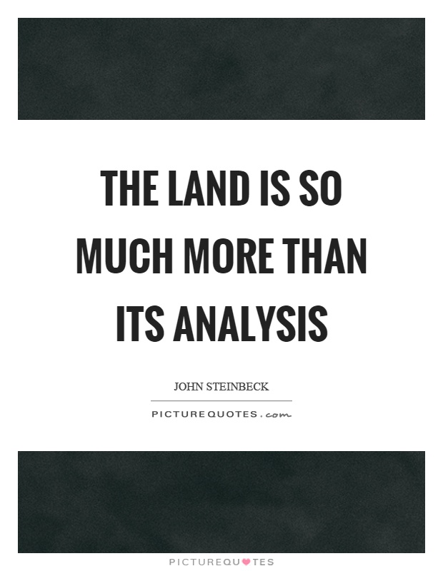 The land is so much more than its analysis Picture Quote #1