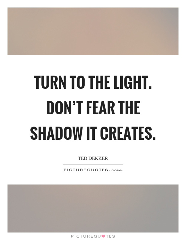 Turn to the light. Don't fear the shadow it creates Picture Quote #1
