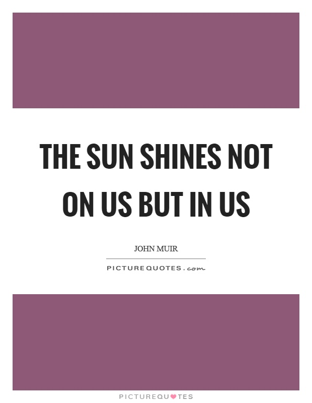 The sun shines not on us but in us Picture Quote #1