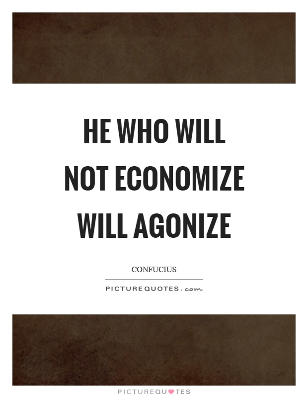 He who will not economize will agonize Picture Quote #1