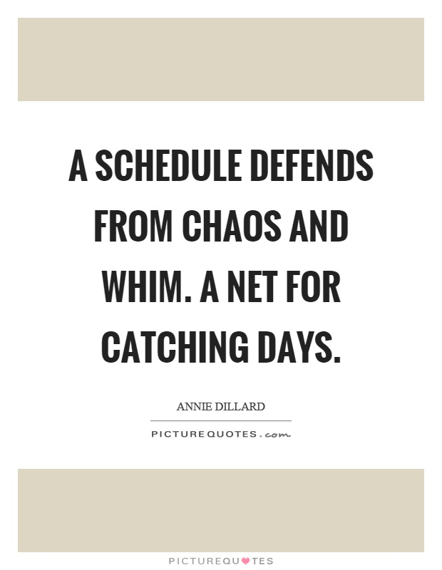 A schedule defends from chaos and whim. A net for catching days Picture Quote #1