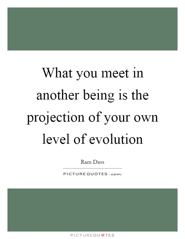 What you meet in another being is the projection of your own level of evolution Picture Quote #1