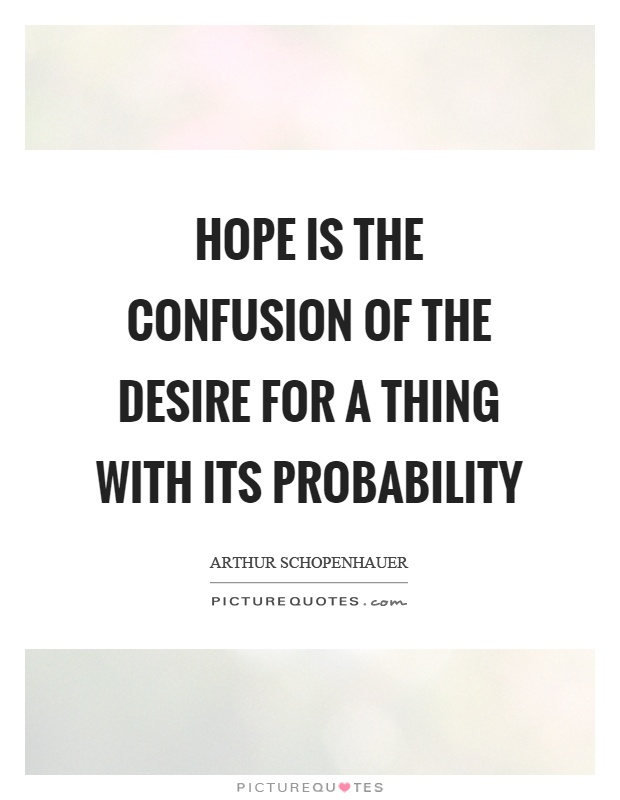 Hope is the confusion of the desire for a thing with its probability Picture Quote #1