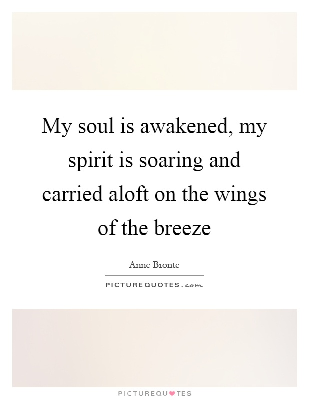 My soul is awakened, my spirit is soaring and carried aloft on the wings of the breeze Picture Quote #1