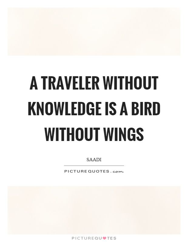 A traveler without knowledge is a bird without wings Picture Quote #1