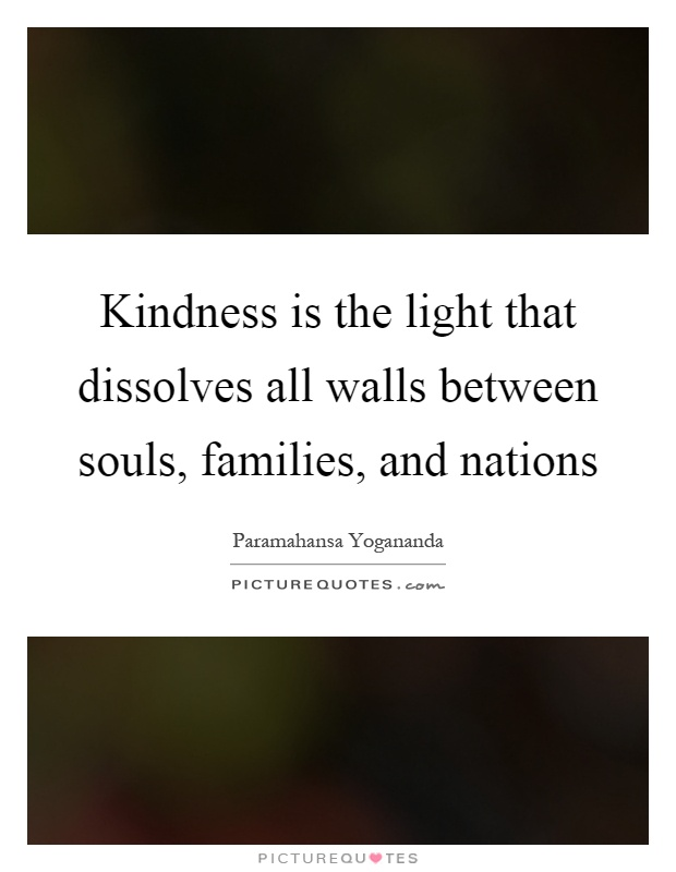 Kindness is the light that dissolves all walls between souls, families, and nations Picture Quote #1