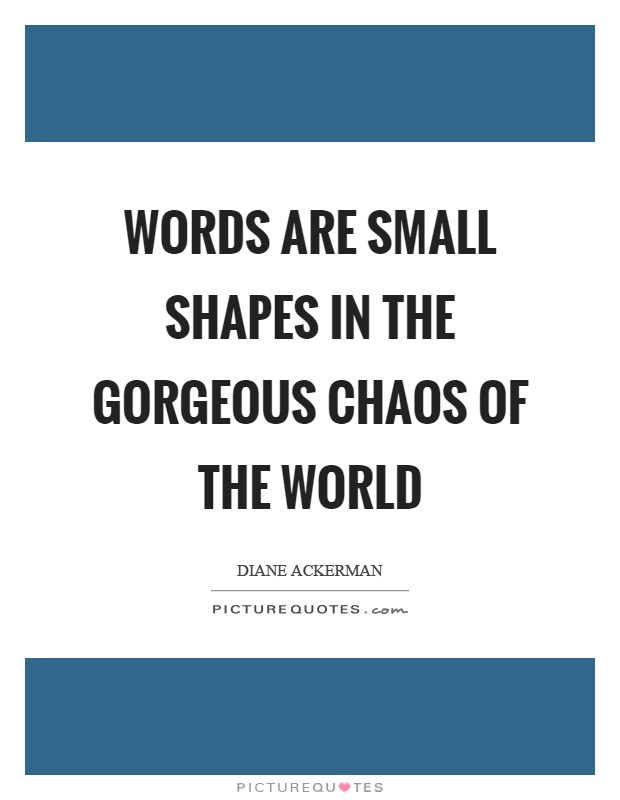 Words are small shapes in the gorgeous chaos of the world Picture Quote #1