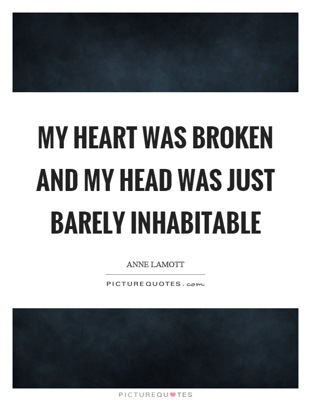 My heart was broken and my head was just barely inhabitable Picture Quote #1